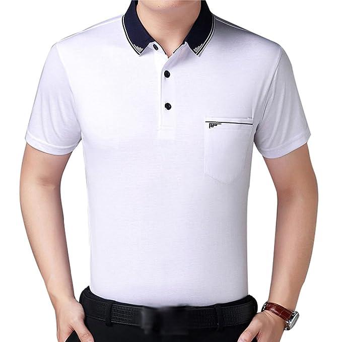 f8420f293da ZKOOO Hombre Camisetas Polos con Bolsillos Verano Algodón Polo Camisas T  Shirt de Manga Corta Casual Vino Blanco: Amazon.es: Ropa y accesorios