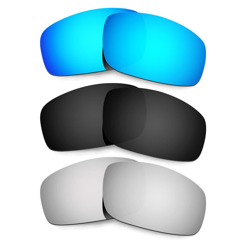 Hkuco Plus Mens Replacement Lenses For Oakley Monster Pup Blue/Black/Titanium Sunglasses