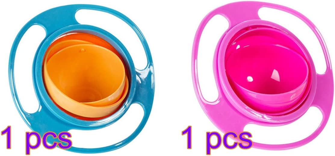 MERICP Childrens Feeding Bowl,Non-Spill Baby Feeding Bowl 360/°Rotating Gyro Bowl With Lid Kids Training Dining Bowl For Toddler