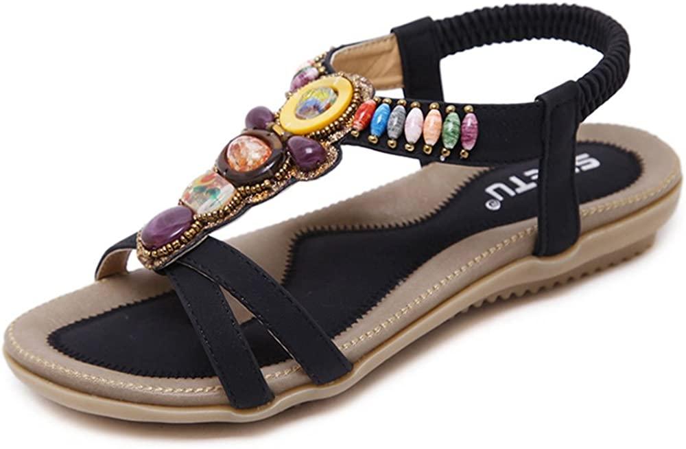 CCBubble Boho Flat Sandal Flip-Flops Bohemian Beading Casual Beach Sandals