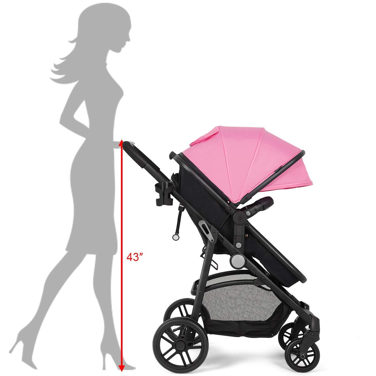 Costzon Baby Stroller, 2 in 1 Convertible Carriage Bassinet to Stroller, Pushchair with Foot Cover, Cup Holder, Large Storage Space, Wheels Suspension, 5-Point Harness (Pink Color) by Costzon (Image #7)