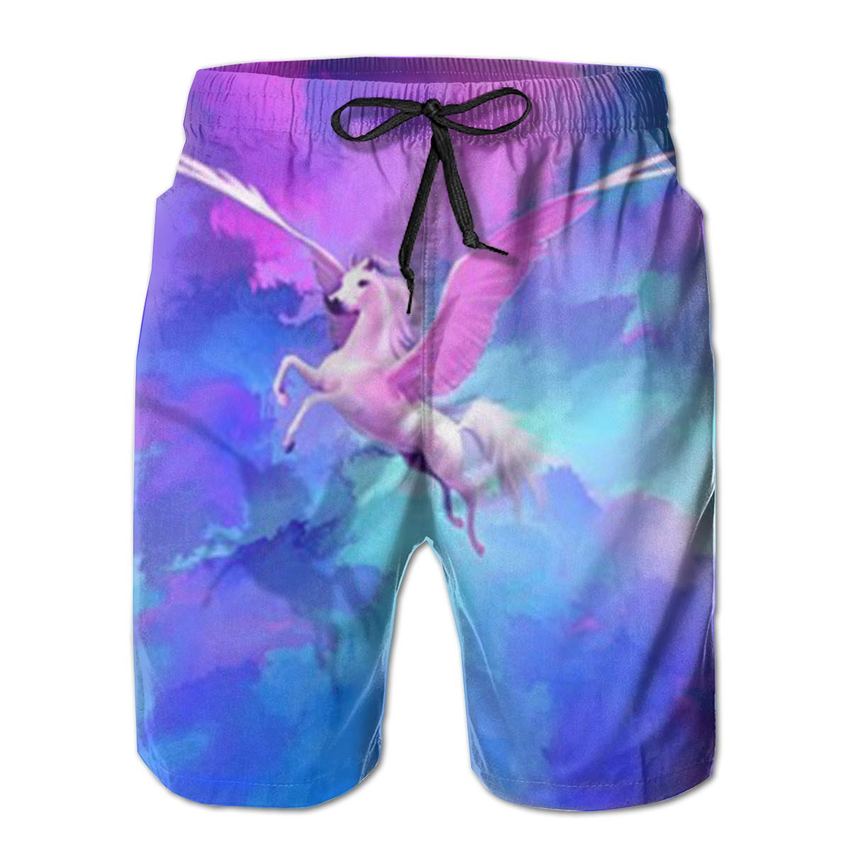Wexzss Pegasus Funny Summer Quick-Drying Swim Trunks Beach Shorts Cargo Shorts