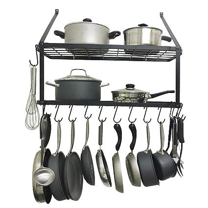 Amazon.com: Shelf Pot Rack Wall Mounted Pan Hanging Racks 2 ...