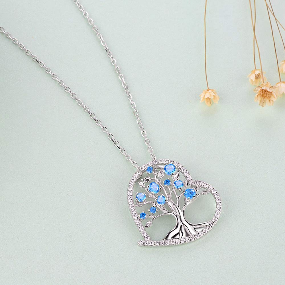Tree of Life Necklace Gifts for Women Sterling Silver Jewelry LC Blue Aquamarine Necklace Birthday Gifts for Her 20 Chain
