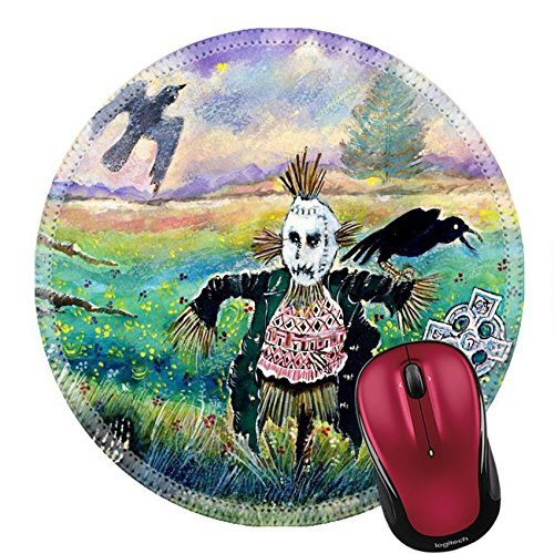 Liili Mouse Pad Natural Rubber Round Mousepad Halloween Field with Funny Scarecrow Skeleton Hand and Crows Image ID (Mac Fields Halloween)