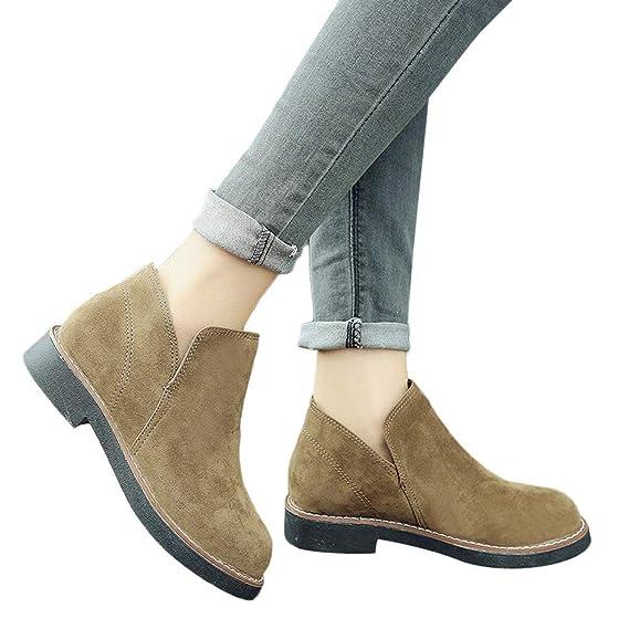 ❤ Botas Cortas para Mujeres Planas, Otoño Invierno Zapatos con Punta Redonda Botines Planos Slip-On Gamuza Color sólido Boots Absolute: Amazon.es: Ropa y ...