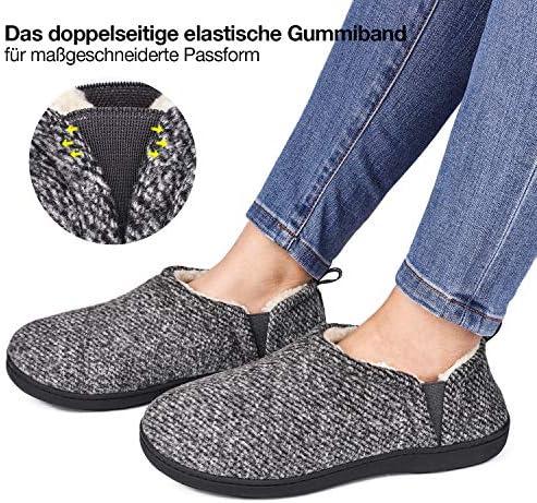 Snug Leaves Herren Wollfilz Memory Foam Pantoffeln mit doppelseitigen elastischen Gummiband
