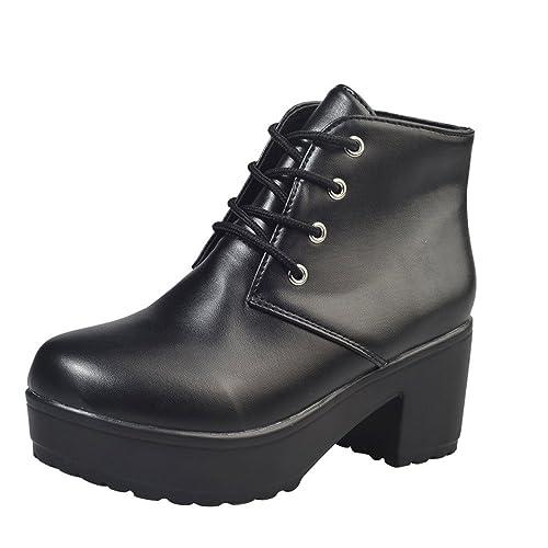 Ansenesna Stiefeletten Damen Leder Mit Absatz Zum Schnüren Elegant Schuhe Frauen Blockabsatz Boots Mode Vintage