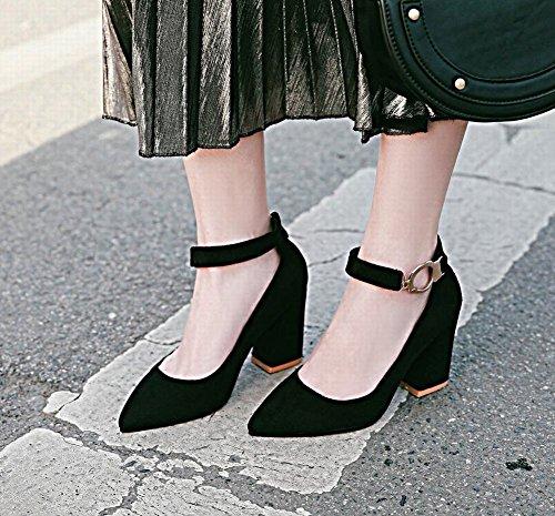 Mee Shoes Damen mit Absatz Schnalle ankle strap Pumps Schwarz