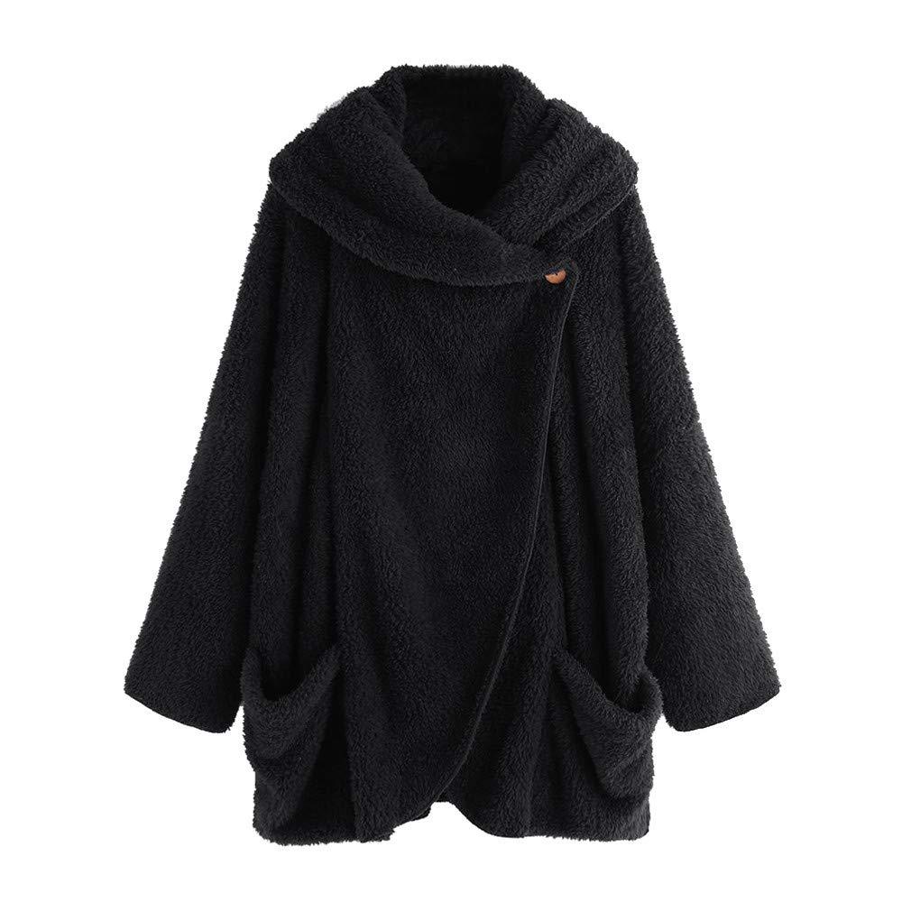 2019! WYTong Women Winter Fleece Cloak Jacket Long Sleeve Loose Button Down Flannel Coat Outerwear(Black,L)