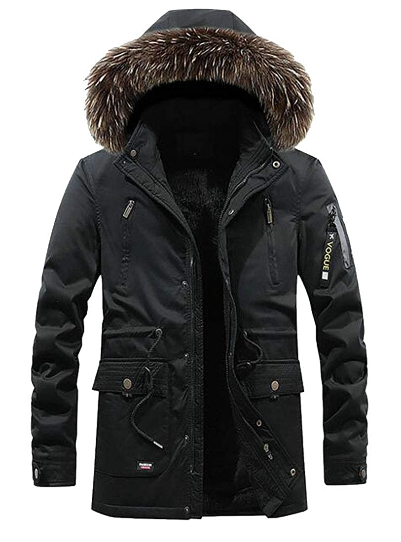 Fubotevic Mens Relaxed Fit Faux Fur Hooded Winter Fleece Lined Quilted Jacket Parka Coat Outerwear
