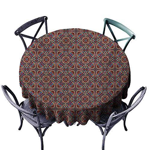 VIVIDX Tablecloth for Kids/Childrens,Vintage,Oriental Turkish Carpet Design Like Image with Vivid Colorful Floral Seem Artwork,for Banquet Decoration Dining Table Cover,50 INCH,Multicolor ()