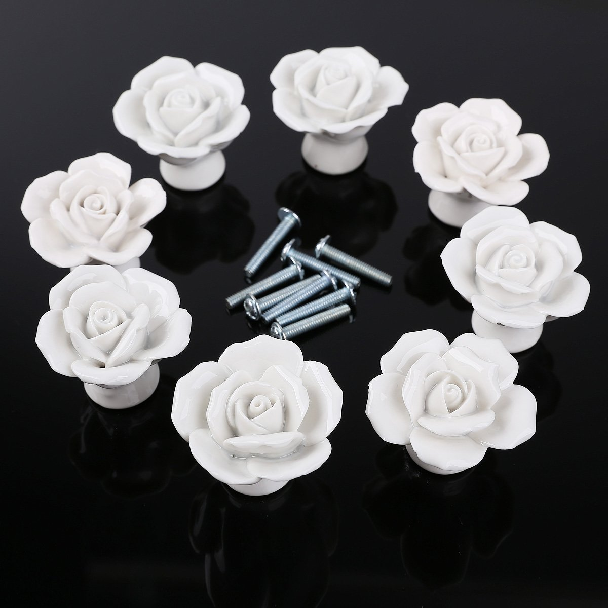 8PCS White Ceramic Vintage Floral Rose Door Knobs Handle Drawer ...