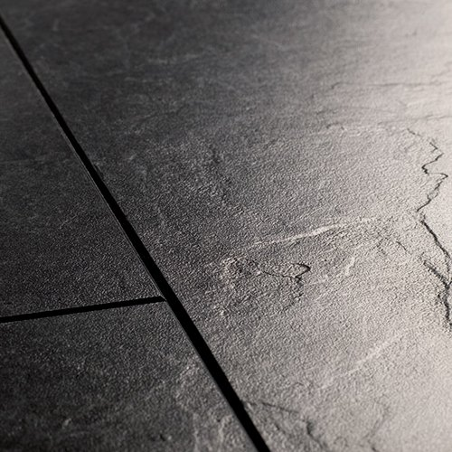 Quick Step Unilin Exquisa Black Slate Exq1550 Tile Effect Laminate Flooring Kitchen Dining Room 8mm Beveled Edge 25yr Guarantee Plus Underlay Amazon Co Uk