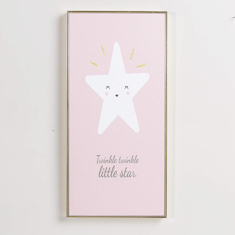 Sweet FanMuLin Cute Baby Nursery Wall Art Decor - Canvas Cartoon Painting Framed Prints - Boy Girl Kids Watercolor Quotes Bedroom Bathroom Decorations - Moon Star Cloud (Star, 7.4'' X 15.3'')