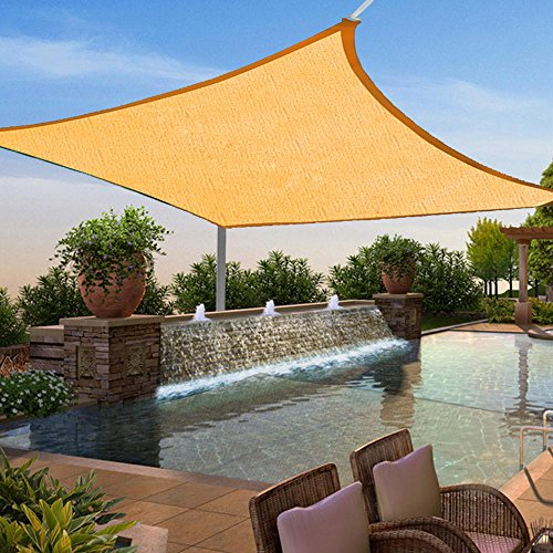 Shade&Beyond 12' x 12' Beige Color Square Sun Shade Sail, UV Block for Outdoor Facility and Activities