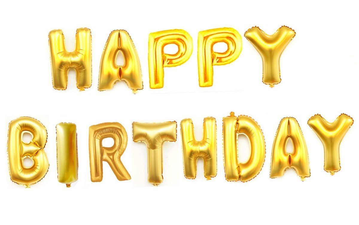 AwesomedaysIn Metallic HAPPY BIRTHDAY13 Letters Foil Balloons GOLD Amazonin Toys Games