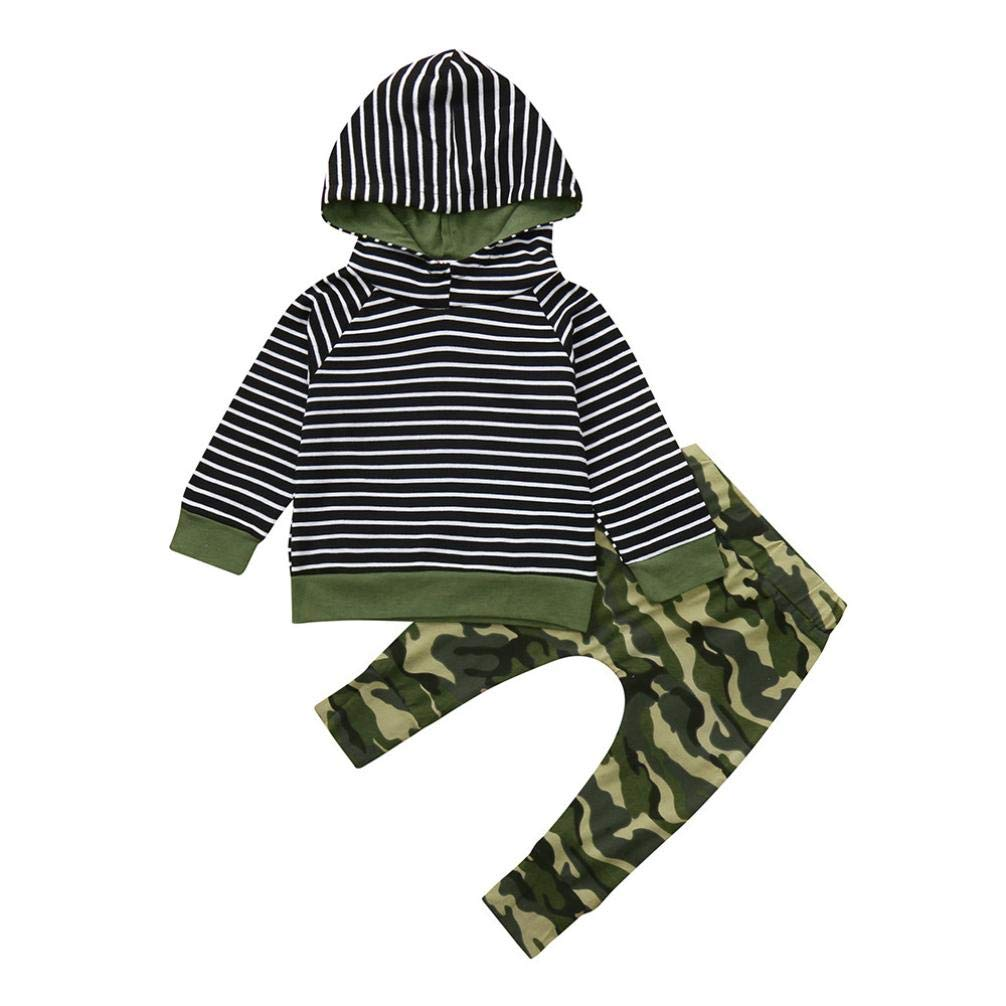 2pcs Clothes Set Toddler Infant Baby Boys Girls Hooded Sweatshirt Striped Tops Pockets Camouflage Pants 0-3T (Camouflage, 3T(2-3 Years))