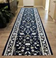 Masada Rugs, Extra Wide Long Runner Area Rug Floral Design, Non Slip Backing, Machine Washable