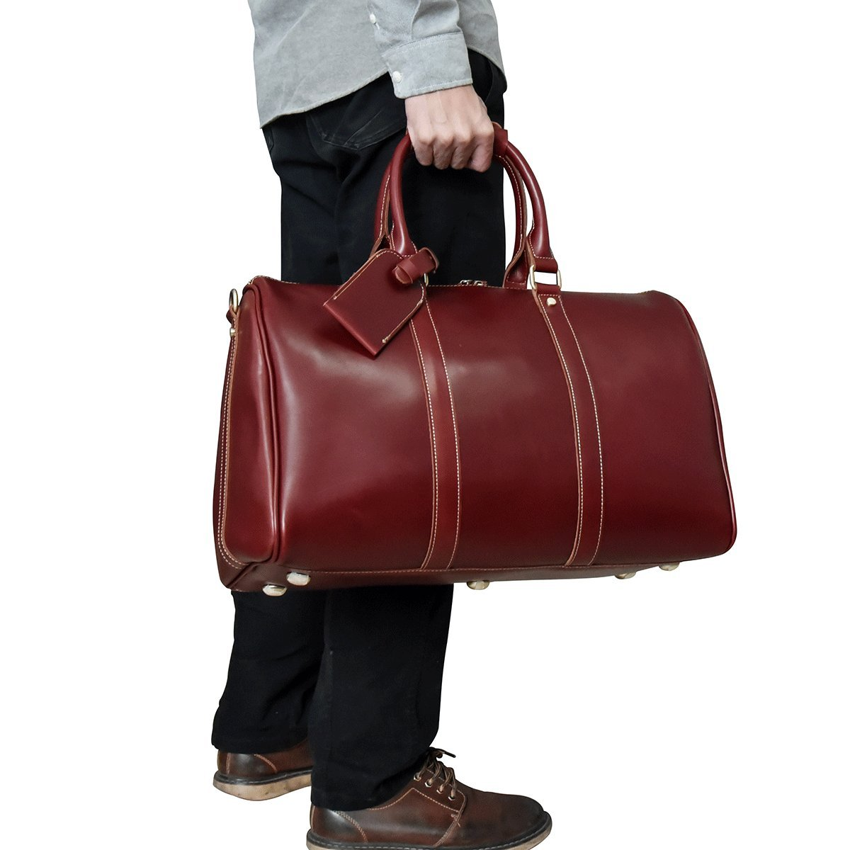 Men's Genuine Leather Travel Duffle Large Cow Leather Weekend Bag Overnight Messenger (red 45cm)