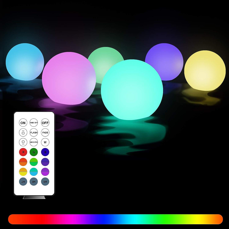 Luces flotantes piscina, 6 Piezas Luz de Bola Impermeable IP68 con Control Remoto, 16 Colors Lámpara LED Decoración Interior y Exterior para Piscina,Playa,Jardín,Hogar,Fiesta