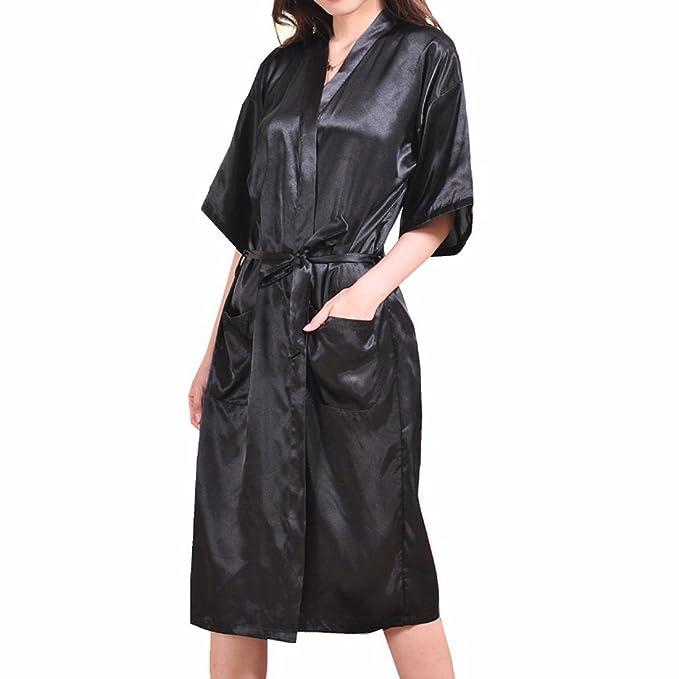 Sidiou Group Camisón Bata de satén Vestido Kimono Largo Mujer Pijamas Ropa de Dormir Albornoz (