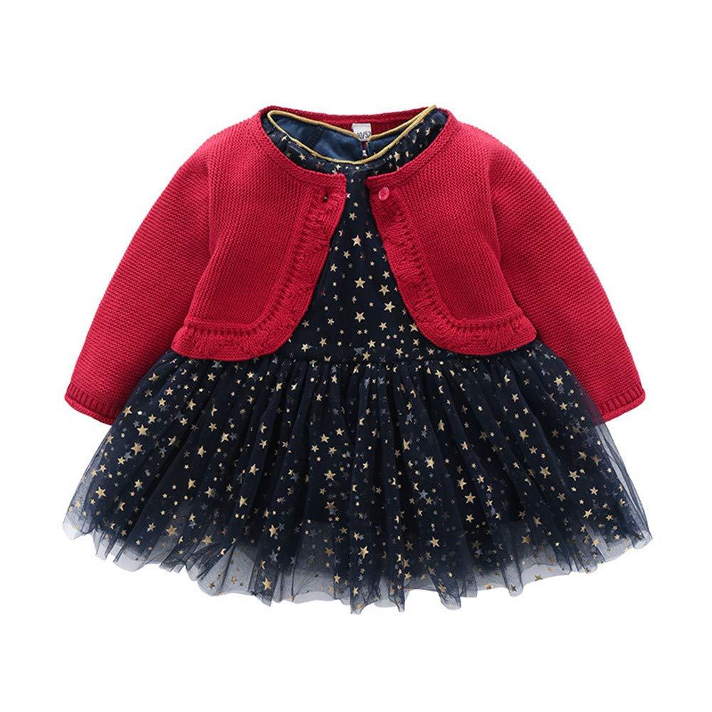 ZPW Baby Toddler Girls Stars Printed Dress and Knit Cardigan Set