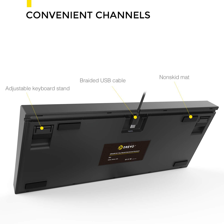 Noir Switch, Blanc DREVO Gramr Clavier de Jeu M/écanique 84 Touches 75/% TKL avec Arc-en-Ciel LED R/étro-/éclairage USB Filaire QWERTY