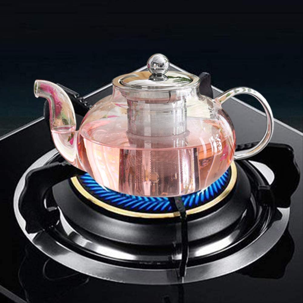 Teapot 900ml Clear Borosilicate Glass With 304 Stainless Steel Infuser Strainer Heat Resistant Loose Leaf Tea Pot,can Be Used For Office/Home