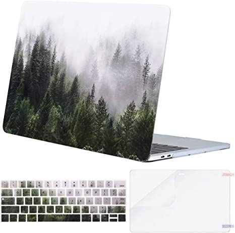 MOSISO MacBook Pro 15 Case 2019 2018 2017 2016 Release A1990 A1707 White Marble Plastic Hard Case Shell Cover Compatible with Macbook Pro 15 Inch with Touch Bar and Touch ID