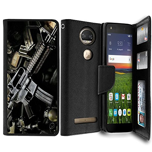 Untouchble Case for Moto Z2 Force Case, Moto Z2 Play Wallet Case Case [MAX WALLET] Wallet Cover Synthetic Wallet Case Interior TPU Case Money Slots ID Case - Tough Assault Rifle