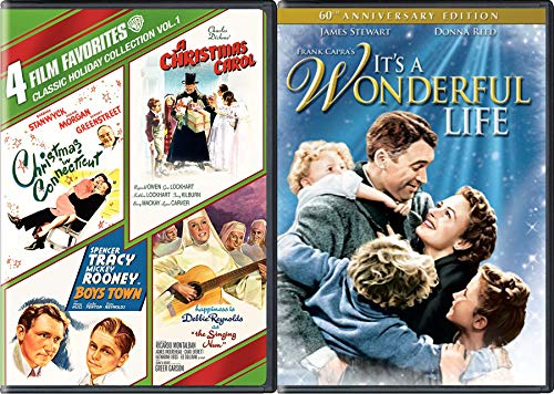 Wonderful Charles Dickens Holiday Connecticut Carol Boys Nun 5 Movie DVD Pack / Boys Town / Hapiness is Debbie Reynolds Singing / Spencer Tracy Boys Town / Barbara Stanwyck / It's Life (Original Version Of Carol Of The Bells)