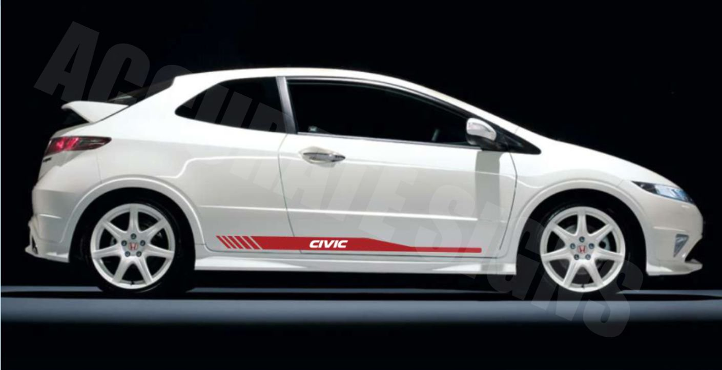 accuratesigns Honda Civic Lower Fade Graphics Decal Sticker Kit