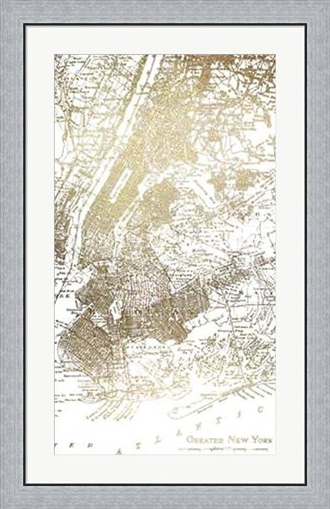 Gold foil city map new york metallic foil by vision studio framed art print wall