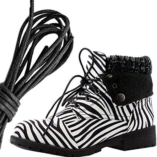 Dailyshoes Da Donna Stile Combattimento Lace Up Maglione Stivaletto Alla Caviglia Con Tasca Per Carta Di Credito Coltello Soldi Portafoglio Pocket Boots, Nero Zebra Sv