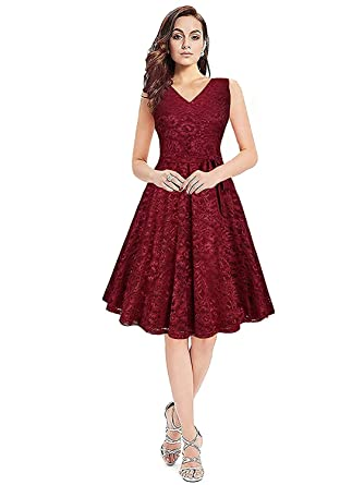 fa652fb8365d Kizu Enterprise Women s Skater Dress (Maroon)  Amazon.in  Clothing    Accessories