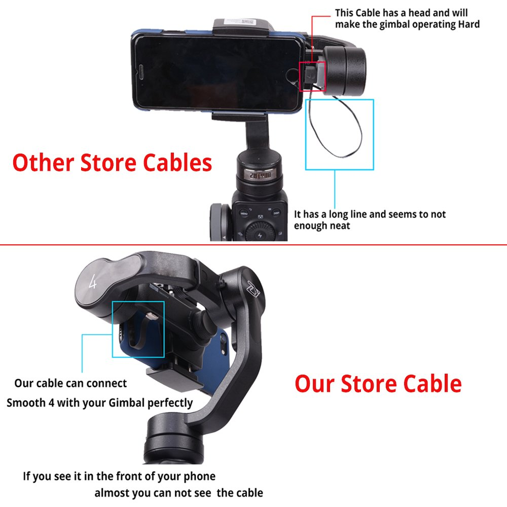 DIGITALFOTO Type C+Micro USB+ Iphone Charge Cable Charging Line for Iphone 7 6s 8 X Sumsung MI Huawei Android Apple Mobile Phone Perfectly Connect with Gimbal for Zhiyun Smooth 4 Smooth 3