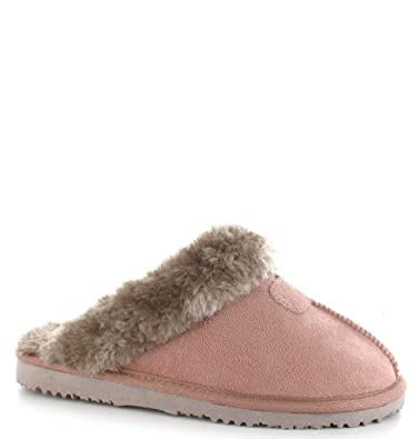 6e2d5c7c58e75 Ella Shoes Jill Mule Open Back Moccasin Faux Fur Slippers (UK 7 ...