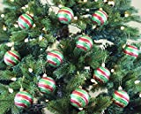 Vintage Style Christmas Ball Ornaments, Green/Gold/Red, Set of 12, 60mm