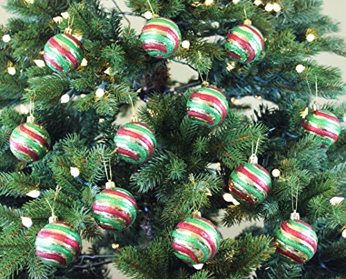 Vintage Style Christmas Ball Ornaments, Green/Gold/Red, Set of 12, (Christmas Ornament Sets)
