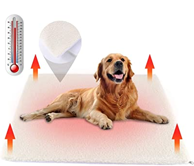 Nemobub Pet Heating Pad,Thermal Thick Cashmere Self-Heating Blanket Mat,Cordless Dog Cat Heating Pad Outdoor,Replaceable Washable Cover,Anti-Slip Bottom,Suit