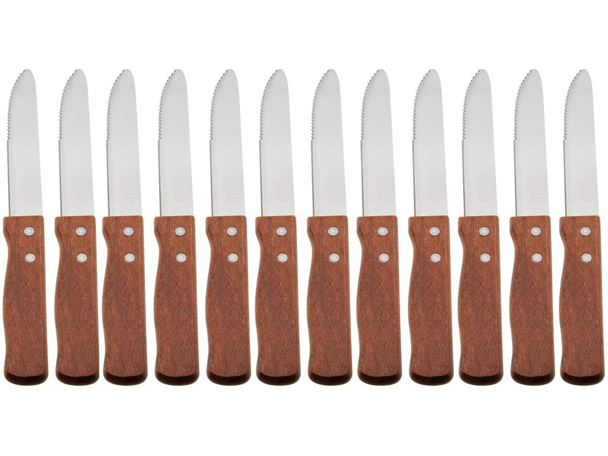 (Set of 12) 10-Inch Jumbo Steak Knives by Tezzorio, 5-Inch Stainless Steel Rounded Serrated Blade with Wooden Handle, Commercial Quality Steak Knife Set by Tezzorio Tabletop Service