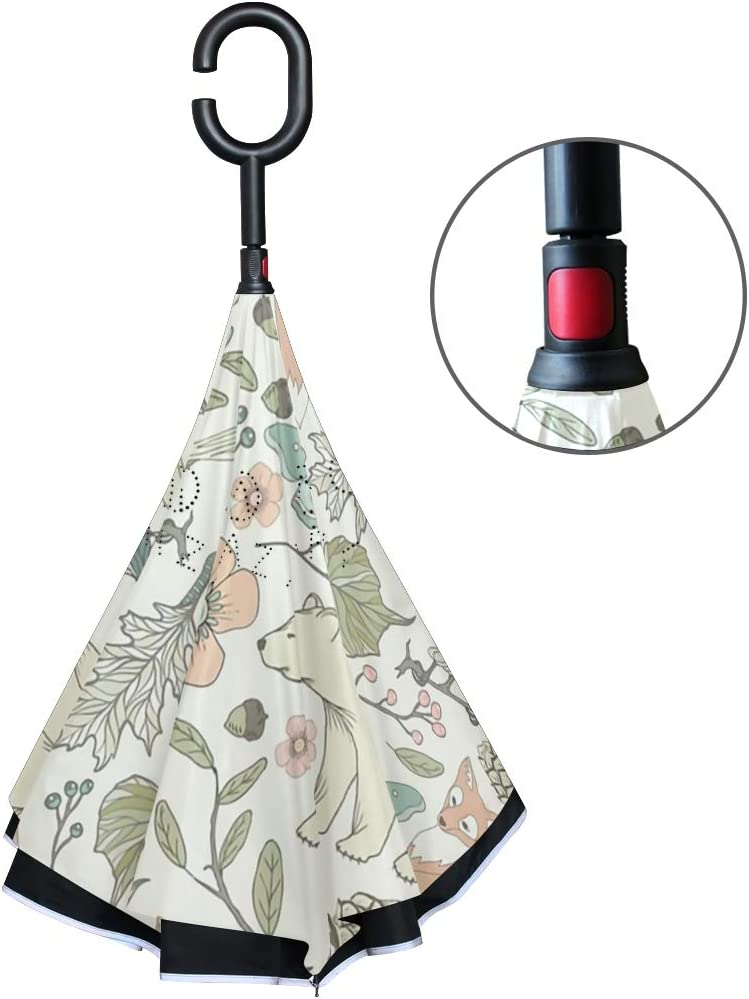 SLEPOPO Inverted Umbrella,Windproof UV Protection Big Straight Umbrella with C-Shaped Handle and Carrying Bag Autumn Pastel Animals Double Layer Reverse