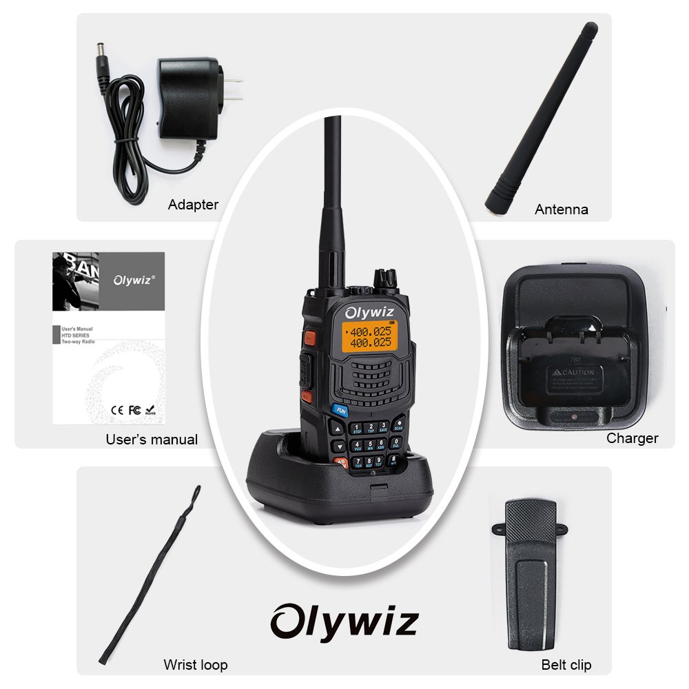 Olywiz UV6S Handheld two way radio High//Low Power Switchable 128 channels 2 PACK Walkie Talkie Long Range 5W