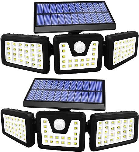 AOBISI Solar Motion sensor Lights Outdoor, 800LM Wireless LED Security Light, Ip65 Waterproof Flood Light, 3 Adjustable Heads 270 degree angle Illumination for Garden Garage Patio 2 Pack