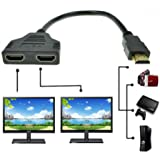 HDMI Male to 2 HDMI Female 1 in 2 out Splitter Cable,Tuscom 1080P HDMI Port Male to 2 Female 1 In 2 Out Splitter Cable Adapter Converter