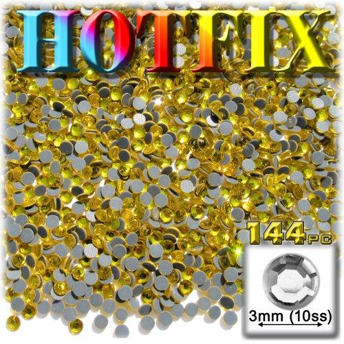 工芸のアウトレットDMC Hotfix優れた品質ガラス144ラウンドラインストーン装飾物、3mm、ゴールデンイエロー