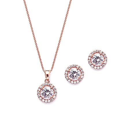 3d1bd7e18a29 Amazon.com  Mariell Ultra Dainty 10.5mm Cubic Zirconia Round Halo Necklace    Stud Earrings Set -14K Rose Gold Plated  Jewelry