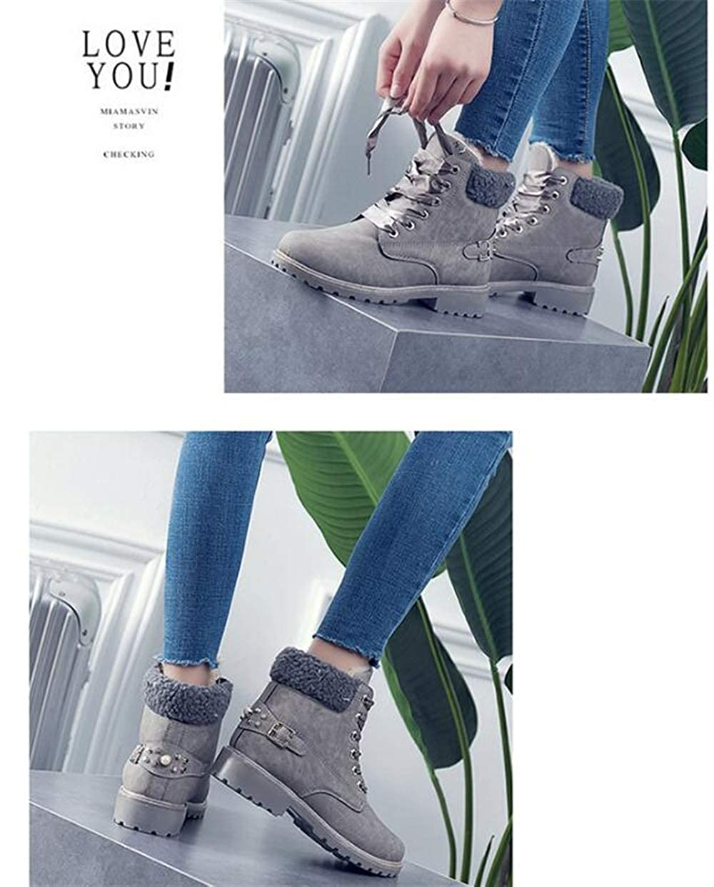 Women Casual Round Toe Shoes Fashion Flat Ankle Martin Boots Stylish Classic