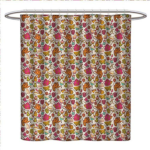 Anniutwo Tea Party Shower Curtains Waterproof Retro Style Kitchen Things Pattern Cups and Pots Delicious Cakes Colorful Candies Bathroom Decor Sets with Hooks W69 x L70 Multicolor